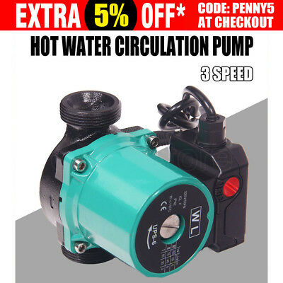 3 Speed Hot Water Circulation Booster Pump Heating System 65L/M Cast Iron Body