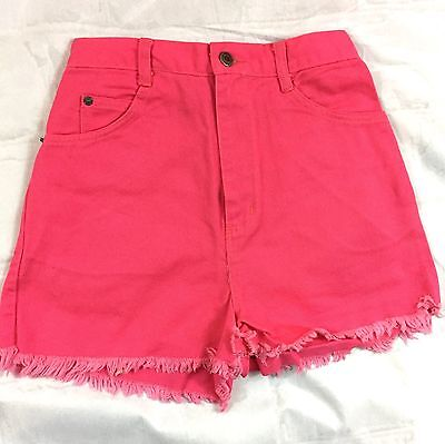 VTG Women's Shorts SZ   Bonjour Retro 90's High Waisted Hot Pink with Original T