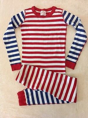 Hanna Andersson 140 Pajamas Striped Blue Red Boys Girls Long John Mix It Up Flaw