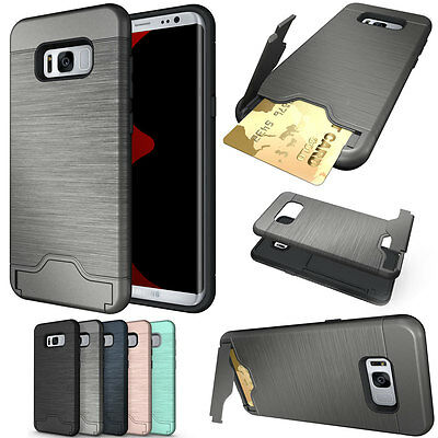 For Samsung Galaxy S8 / S8 Plus Slim Slide Shockproof Wallet Card Case Cover