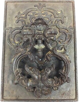 Antique Cast Iron Door Knocker With Door Plate