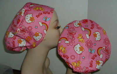Hello Kitty Butterfly Rainbow PINK Euro European OR Surgical Scrub Hat CRNA CNOR