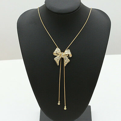 Women Crystal Bowknot Gold Silver Plated Statement Long Chain Pendant Necklace
