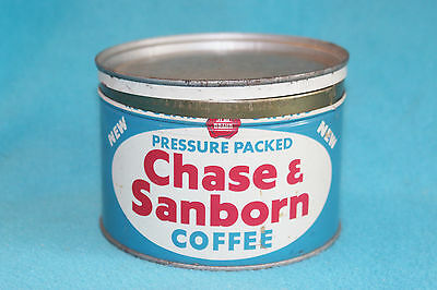 Vintage Chase & Sanborn Coffee Tin With Lid  - 1 Pound Net - Empty