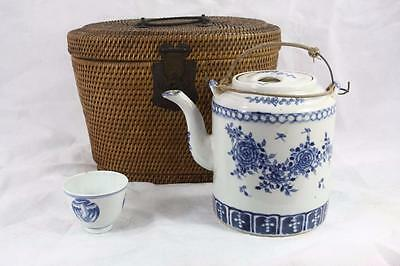 Antique Chinese Qing Dynasty Blue White Handpainted Teapot In Original Basket