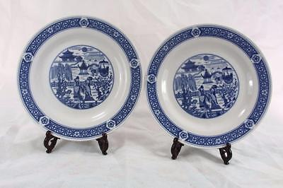 VINTAGE PAIR OF CHINESE BLUE WHITE PLATES marked
