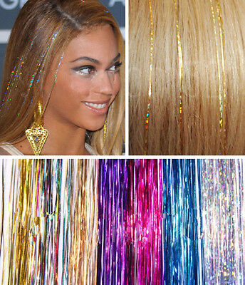 "40"" HAIR Tinsel Silk Bling EXTENSIONS Glitter Sparkly Highlights Streak Clubbing"