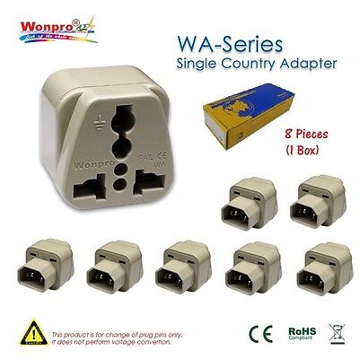 LOT of 8 Pieces of Wonpro Computer Adapter IEC Male Plug - 100% New!