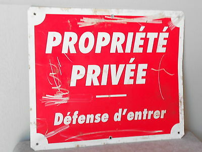 Vintage French metal alu RED Plaque Sign  : Private property
