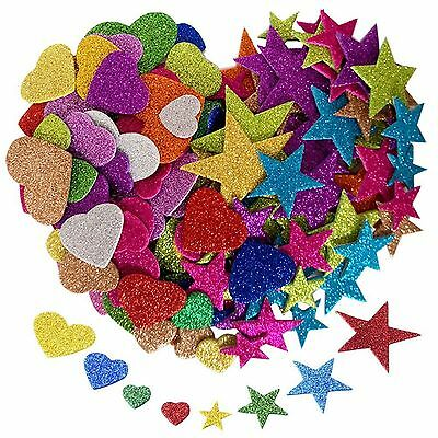 DIY Foam Glitter Heart Star Shaped Stickers Art Craft Self Adhesive Phone Decor