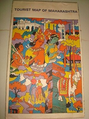 Old Vintage Tourist Map Book with Folding Map from India 1960