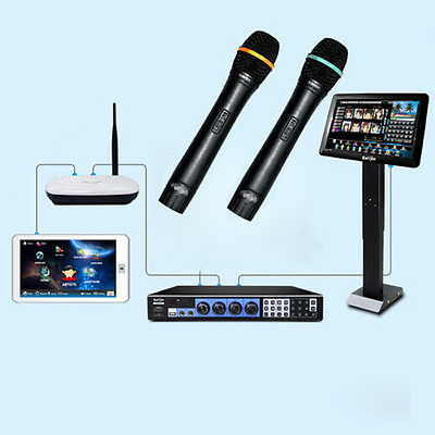 """KARAOKE Machine Jukebox 3TB HD +Wired Microphones +19"""" IR Touch Screen+Touch Pad"""