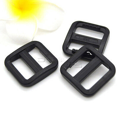"5/8"" (15mm) Plastic Black Slider Tri Glide Adjust Buckles For Dog Collar"