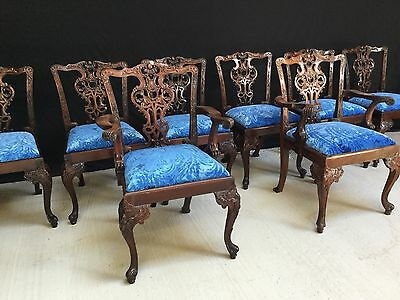 8 to 14 EXQUISITE CHIPPENDALE STYLE CHAIRS PRO FRENCH POLISHED & UPHOLSTERED
