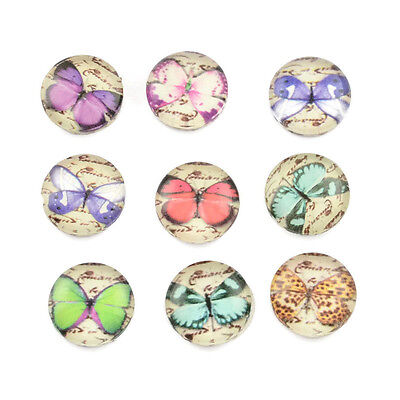 10 Butterfly Glass Round Cabochon 10mm Mixed Charms Crafts Embellishments Beads