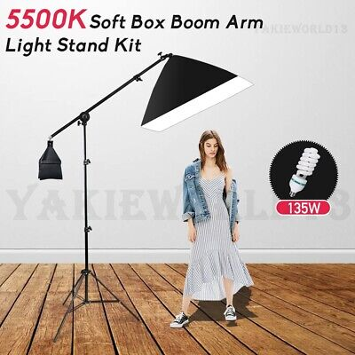 Photography Studio Softbox Continuous Lighting Soft Box Boom Arm Light Stand Kit