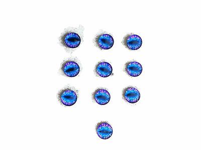 Eyes 10 Blue Glass Round 10mm Embellishments Cabochons Findings Phone Decor