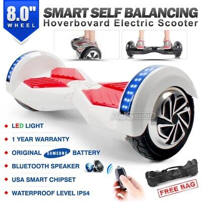 "8.0"" Two Wheel White Bluetooth Smart Self Balancing Electric Scooter Hoverboard"