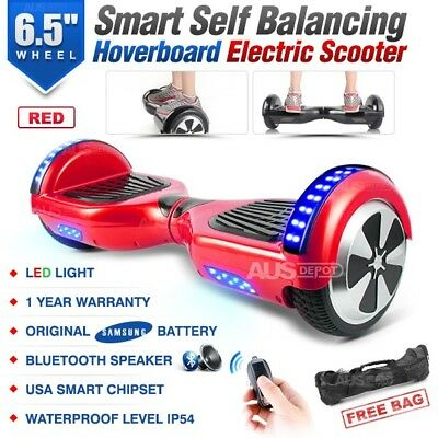 "6.5"" Two Wheel Red Bluetooth Smart Self Balancing Electric Scooter Hoverboard"