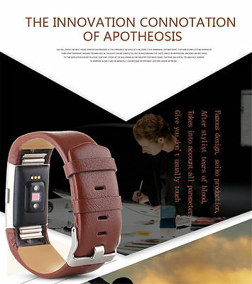 Replacement Watch Band Wristband Strap Fine Genuine Leather For Fitbit Charge 2