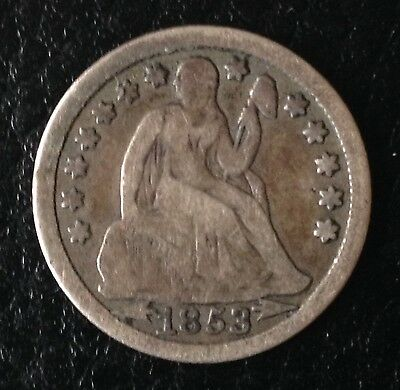 1853 US USA One Dime America Silver Coin