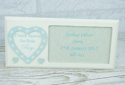 """Personalised Baby Photo Frame Blue Thank Heaven For Little Boys 6 x 4"""" F1053B/P"""