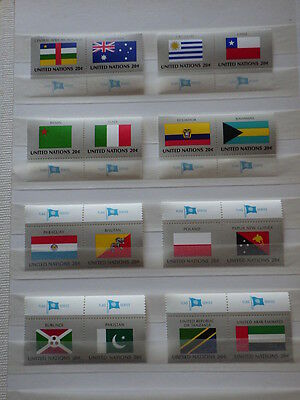 16x stamps ONU Nations Unies UN United Nations NEW YORK Flags 1984 NH**  2x (H)