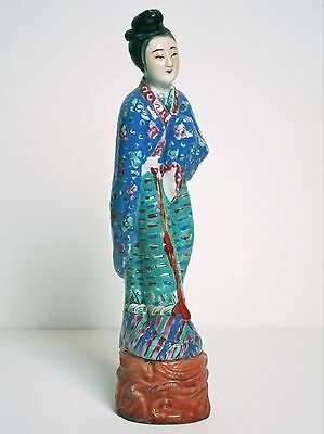"""Antique Chinese Famille Rose Porcelain 11"""" Statue of Woman c1920"""