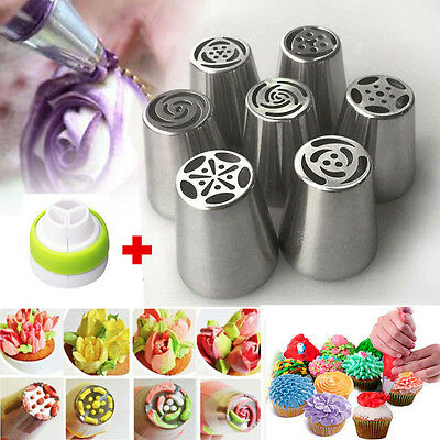 AU 7Pcs Russian Tulip Icing Piping Nozzle Set Cake Cupcake Decoration Tips Tool