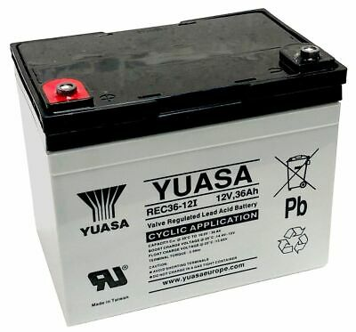 Yuasa REC36-12I Golf Trolley / Mobility Scooter Battery VRLA, 36Ah Replaces 33Ah