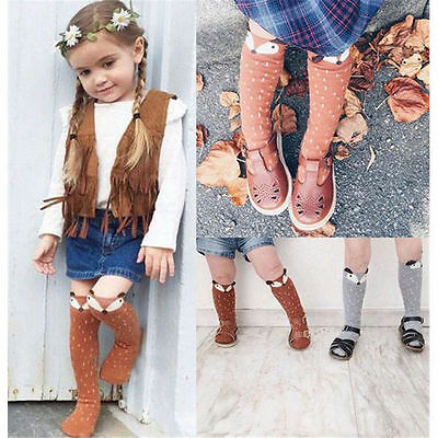 Lovely Infant Newborn Baby Girls Kids Toddler Fox Socks Cotton Knee High Hosiery