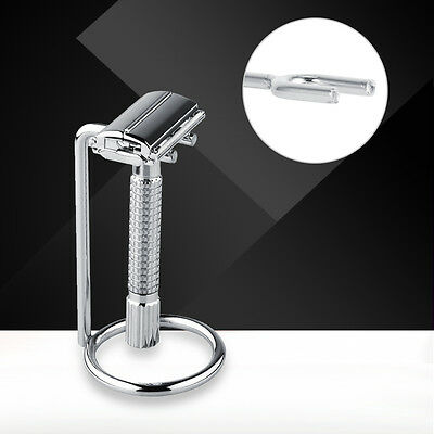 Removable Shaving Stand Razor Brush Holder Stainless Steel Weighted Base Cool SS