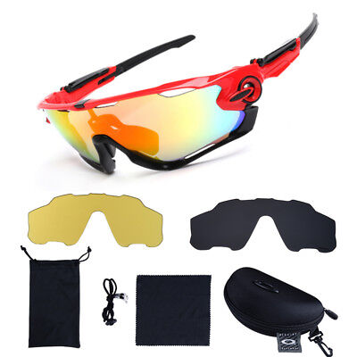 Bike Cycling Sports Riding Bicycle Fishing Sun Glasses Eyewear 5 Lens Goggles