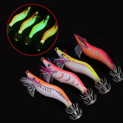"4Pcs/Lot 3.15"" Luminous Shrimp Lure Squid Night Fishing Cuttlefish Lures SS"