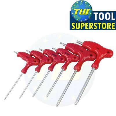 6pc T-Handle Security Torx Wrench Double Ended Star T10 T15 T20 T25 T30 T40 CRV