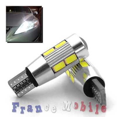 2 Veilleuses LED W5W T10 Canbus ANTI ERREUR ODB Blanc COB voiture ampoule 10 SMD