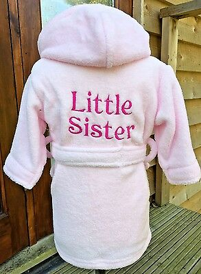 Girls dressing gown Little sister design pink or white personalised gift girls