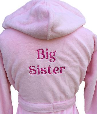 Girls dressing gown Big sister design pink or white personalised gift girls 5-6