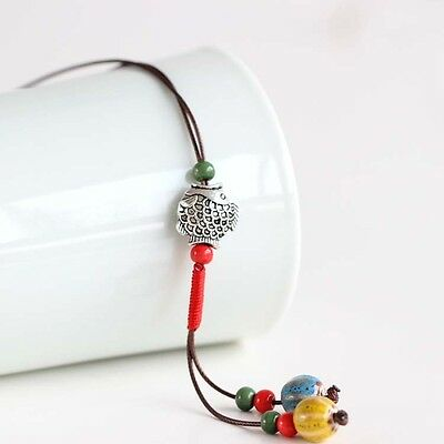 [fish] simple fashion handmade ceramic sweater chain necklace national wind feat