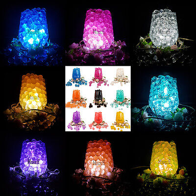 Wedding Party Table Top Vase Decoration LED Light With Bio Gel Aqua Water Beads