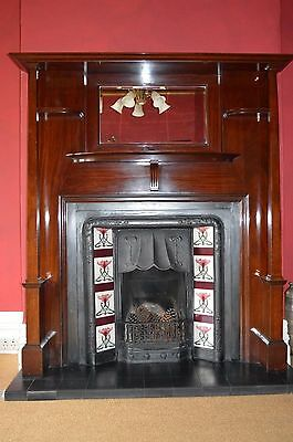 Magnificent 1912 Edwardian Victorian French-Polished Mahogany Fireplace
