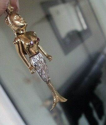 LARGE 9ct Gold Articulated Mermaid Pendant + Rubies & Cubic Zirconias c.1980s