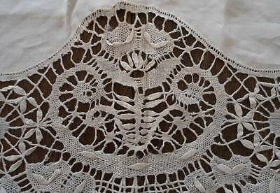 True Vintage Linen Figural Bobbin Cluny Lace Tablecloth Imperfect Repair 68""