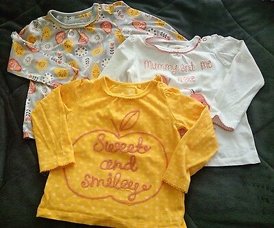 3 Baby Girl Tops 9-12 Months