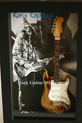 RGM8886 Rory Gallagher Miniature Guitar in Shadowbox Frame