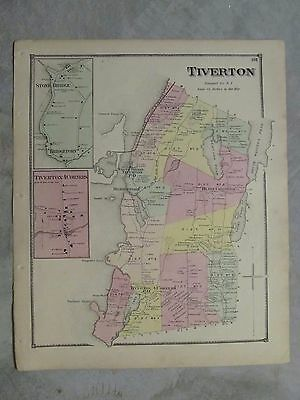 Vintage 1870 Tiverton  Rhode Island Map, 16X13 Inches, Very Detailed