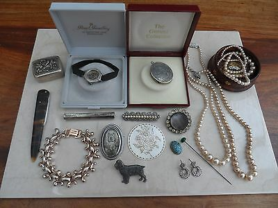 Job Lot of Mixed Vintage Jewellery Brooches, MOP Including Silver Items + others