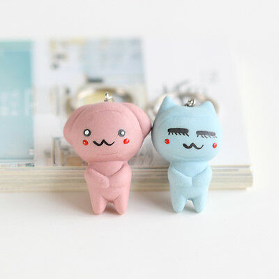 left-right Keychain Handmade cartoon lovers Ceramic fashion jewelry pendant 1P
