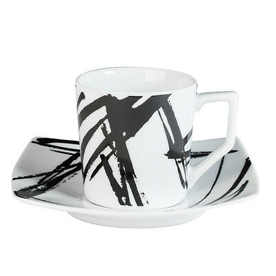 Tasse - Sous/tasse  Cafe 12 Cl Porcelaine Decor Expression Noir ( Lot De 6 )
