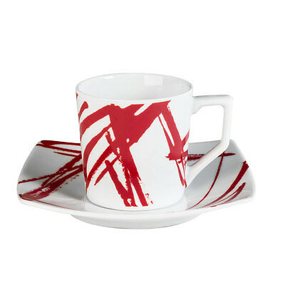 Tasse - Sous/tasse Cafe 12 Cl Porcelaine Decor Expression  Rouge ( Lot De 6 )
